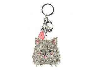 Pomeranian Tassel Bling Faux Suede Stuffed Pillow Key Chain Handbag Charm