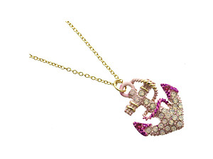 Pink Crystal Stone Anchor Necklace in Gold Tone