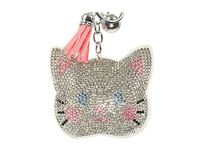 White Kitten Tassel Bling Faux Suede Stuffed Pillow Key Chain Handbag Charm