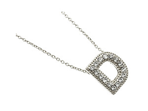Crystal Stone Paved 'D' Initial Pendant Necklace in Silvertone