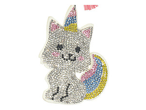 Unicorn Kitten Tassel Bling Faux Suede Stuffed Pillow Key Chain Handbag Charm