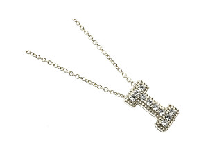 Crystal Stone Paved 'I' Initial Pendant Necklace in Silvertone