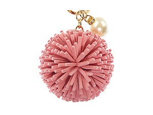 Colorful Faux Leather Pom Pom Handbag Accessory Key Chain w/ Pearl Charm
