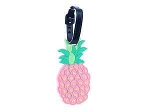 Travel Suitcase ID Luggage Tag and Suitcase Label - Pink Pineapple