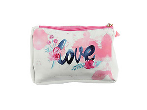 Pink Multi Color Love Vinyl Carry-All Pouch Bag Accessory with Tassel