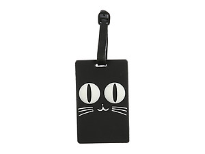 Travel Suitcase ID Luggage Tag and Suitcase Label - Black Cat