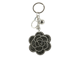 Black Rose Bling Faux Leather Stuffed Pillow Key Chain Handbag Charm