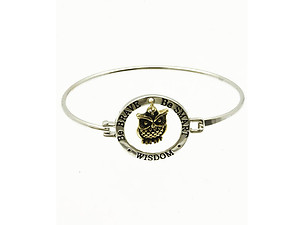 Rhodium Tone Message Metal Owl Charm Bangle Bracelet