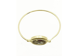 Goldtone Be Brave Floating Charm Metal Bangle Bracelet
