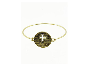 Goldtone Message Metal Cross Wire Bangle Bracelet