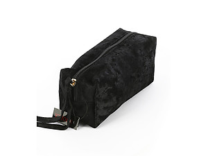 Black Velvety Feel Makeup Carry All Pouch Bag Accessory