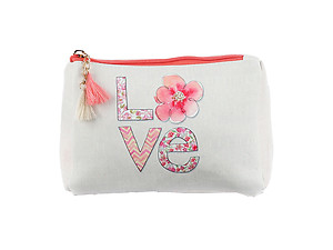 Orange Multi Color Love Vinyl Carry-All Pouch Bag Accessory with Tassel