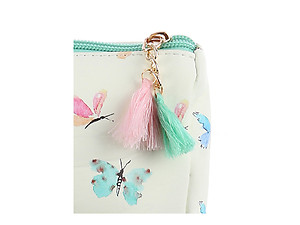 Green Multi Color Butterfly Vinyl Carry-All Pouch Bag Accessory with Tassel