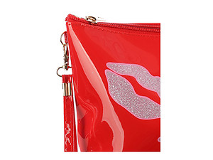 Red Glittery Lips Vinyl Carry All Pouch Bag Accessory