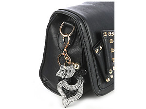 Kitten Tassel Bling Faux Suede Stuffed Pillow Key Chain Handbag Charm
