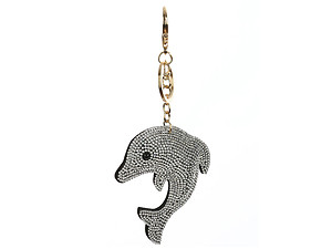 Dolphin Bling Faux Suede Stuffed Pillow Key Chain Handbag Charm