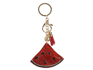 Watermelon Tassel Bling Faux Suede Stuffed Pillow Key Chain Handbag Charm