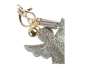 Aurore Boreale Angel Tassel Bling Faux Suede Stuffed Pillow Key Chain Handbag Charm