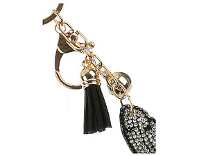 Feather Tassel Bling Faux Suede Stuffed Pillow Key Chain Handbag Charm
