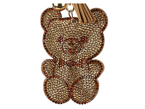 Brown Teddy Bear Tassel Bling Faux Suede Stuffed Pillow Key Chain Handbag Charm
