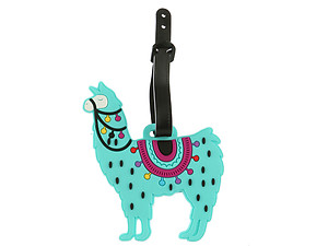 Aqua Blue Llama  ~ Travel Suitcase ID Luggage Tag and Suitcase Label