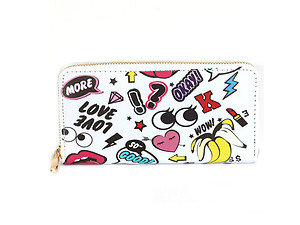 Character Vinyl Printed Zip Around Clutch Wallet