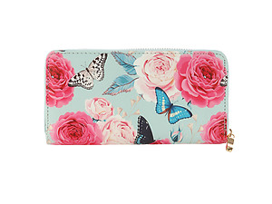 Roses & Butterflies Vinyl Printed Zip Around Clutch Wallet