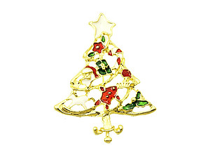 Goldtone Christmas Tree Pin and Brooch