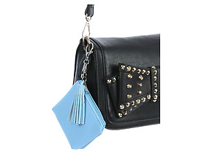 Blue Faux Leather Zip Closure Tassel Coin Pouch Keychain