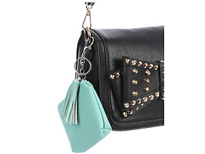 Green Faux Leather Zip Closure Tassel Coin Pouch Keychain