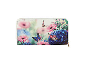 Butterflies & Flowers Vinyl Printed Zip Around Clutch Wallet