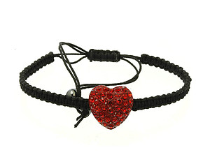 Red Crystal Stone Heart Adjustable Cord Bracelet