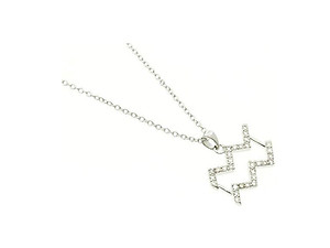 Aquarius Cubic Zirconia Horoscope Necklace