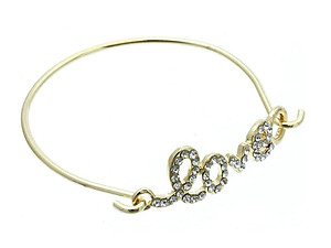 LOVE Crystal Stone Thin Hook Bangle Bracelet