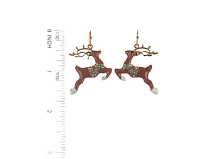 Metal Reindeer Christmas Fish Hook Holiday Earrings