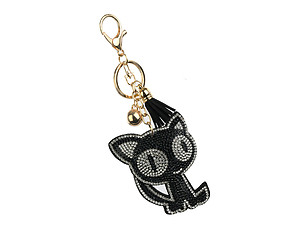 Spooked Cat Tassel Bling Faux Suede Stuffed Pillow Key Chain Handbag Charm