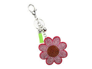 Flower Tassel Bling Faux Suede Stuffed Pillow Key Chain Handbag Charm