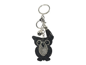 Black Owl Tassel Bling Faux Suede Stuffed Pillow Key Chain Handbag Charm