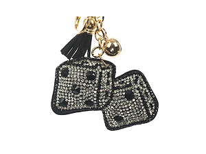 Black Dice Tassel Bling Faux Suede Stuffed Pillow Key Chain Handbag Charm