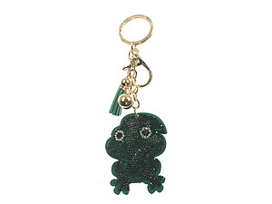 Frog Tassel Bling Faux Suede Stuffed Pillow Key Chain Handbag Charm