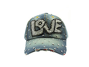 Blue LOVE Fabric Studded Denim Buckle Adjustment Hat Cap