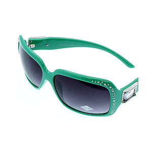 Green Crystal Stone Studded Wide Lense Sunglasses