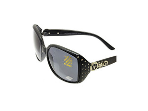 Black Crystal Stone Studded Wide Lense Sunglasses