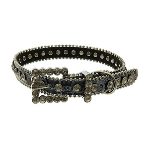 Medium: Navy Faux Leather Belt Design, Crystal Stone Adjustable Dog Collar w/ Bling