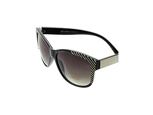 Black & White Striped Wide Lense Sunglasses