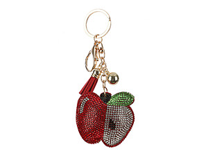 Apple Tassel Bling Faux Suede Stuffed Pillow Key Chain Handbag Charm