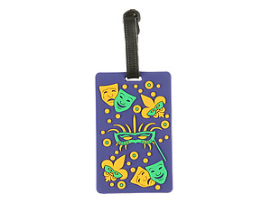 Travel Suitcase ID Luggage Tag and Suitcase Label - Mardi Gras Masks