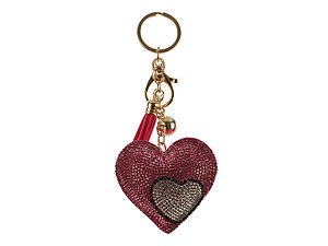 Heart Tassel Bling Faux Suede Stuffed Pillow Key Chain Handbag Charm