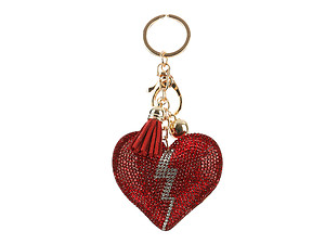 Broken Heart Tassel Bling Faux Suede Stuffed Pillow Key Chain Handbag Charm