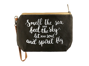 Smell The Sea Message Print Vinyl Carry All Pouch Bag Accessory w/ Wrist Strap
